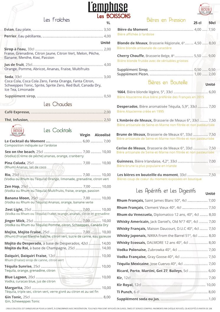 Carte des boissons FR