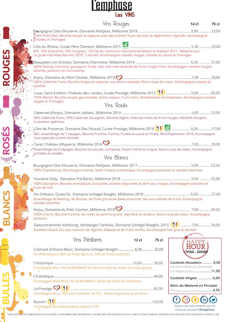 Carte des vins FR